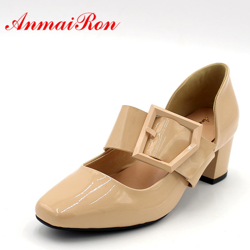 ANMAIRON Women Square Toe Bukle Pumps Med Heels Slip On Leather Shoes Woman Fashion Retro Chunky Heels Nude Black Mules Shoes bonjomarisa 2018 spring new fashion brand black genuine leather ol pumps slip on square toe shoes woman chunky heels women shoes