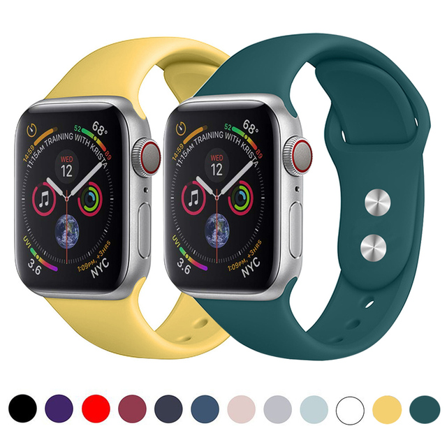 Silicone strap band for Apple Watch 42mm 38mm 44mm 40mm Rubber Bracelet Watchbands Black Straps Iwatch Series 4/3/2/1 Wristband