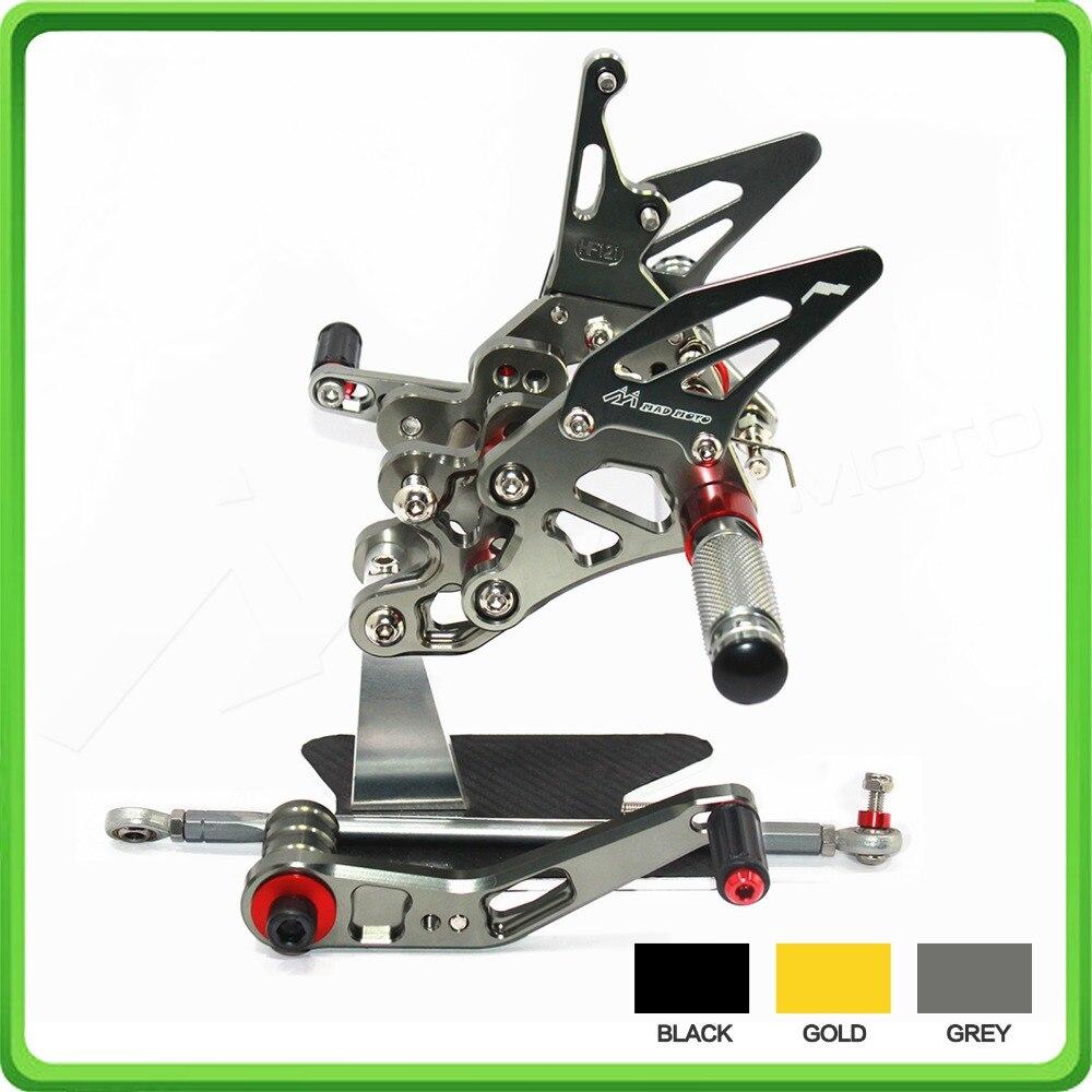 Rearsets rear set sets footrest foot pegs for Suzuki GSX R 600/750 2011 2012 2013 2014 2015 2016 2017 2018 GSXR600 GSXR750 Gray