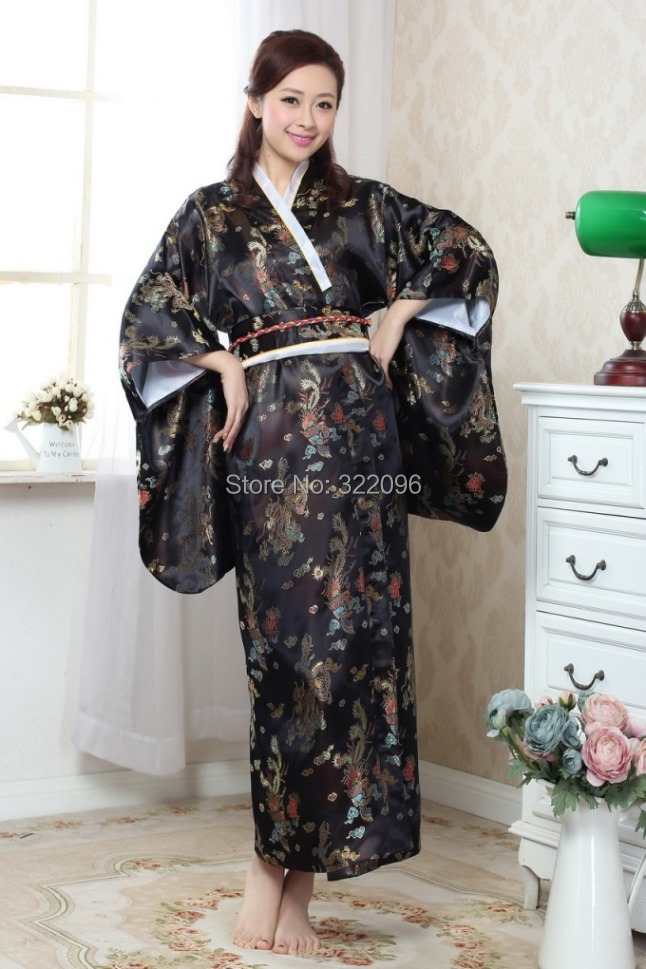 Shanghai Story offre spéciale Vintage bleu clair japonais femmes soie Satin Kimono Yukata robe de soirée fleur 3 couleur H0052