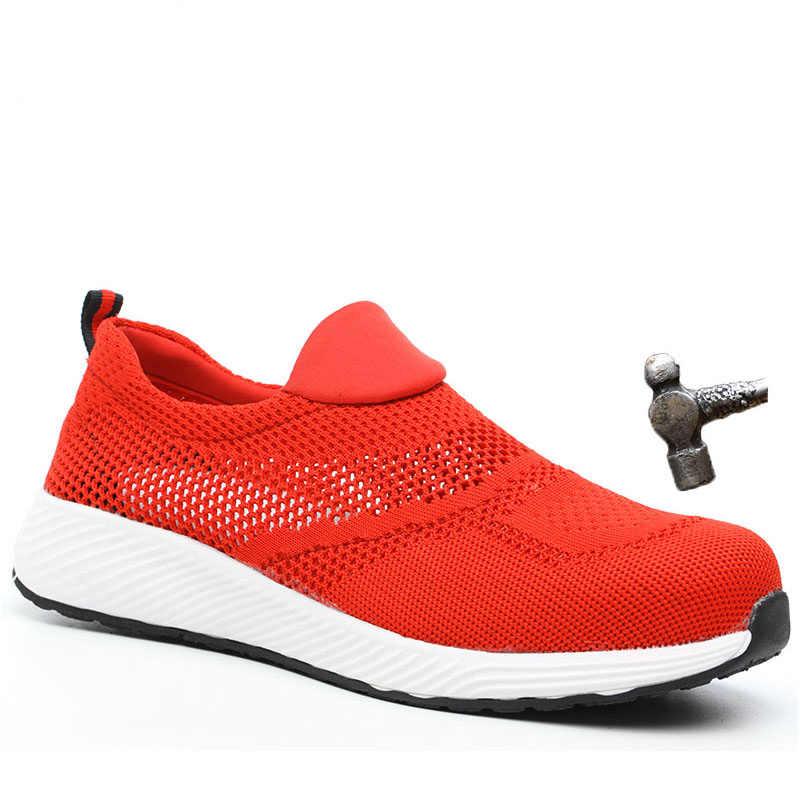 Veiligheid Schoenen Merk Zomer Lichtgewicht Stalen Neus Unisex Werk Veiligheid Laarzen Ademend Mannen Vrouwen Schoenen Plus Size Veiligheid Schoen
