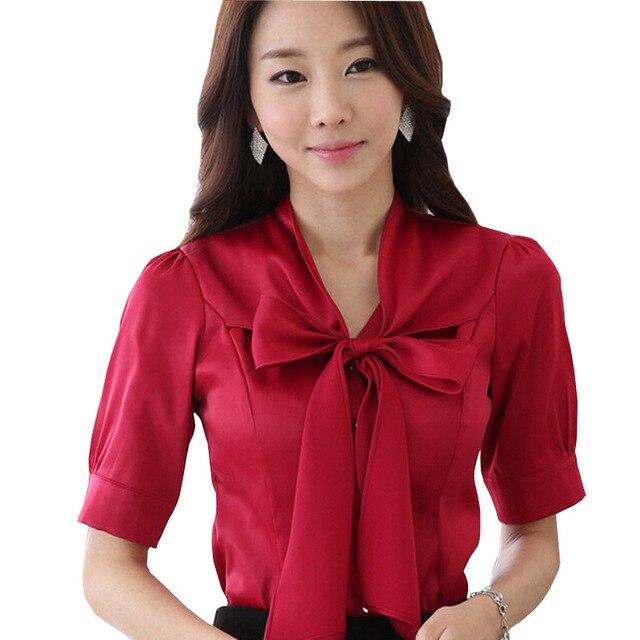 Korean Fashion Lady Chiffon Blouse Plus Size S-3XL Classic Bowtie Decor  Elegant Women Career Shirts 815382a6d538