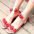 Hot Sale Summer Pink Sandals Street Style Rose Flowers Decoration Ankle Lace Up Sweet Girl's Dress Shoes Flats Casual Shoes