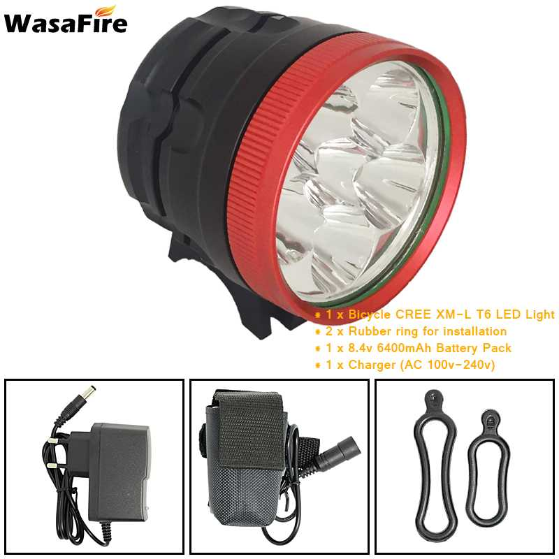 WasaFire 8000lm 6* XML T6 LED Bike Light Bicycle Lamp Headlight Headlamp Flashlight 8.4V 6400mAh battery pack Cycling Frontlight горнолыжный шлем giro giro slingshot синий xs s 49 52cm