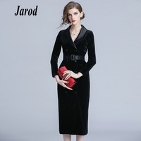 Women Autumn Winter Long Sleeve Satin Notched Double Breasted Velvet Dress Sashes Office Lady Slim Fit Bodycon Split Midi Dress