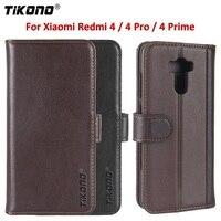 Tikono Original Genuine Cowhide Wallet Case For Xiaomi Redmi 4 4Pro Business Style Flip Leather Cover