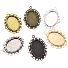 10pcs  Silver Plated Necklace Pendant Settings Cabochons Bases Bezel Trays Fit Oval 18x25mm Cabochon Cameo DIY Necklace Findings 10pcs fit 25mm stainless steel cabochon base diy blank cameo pendant bezel settings diy jewelry necklace trays