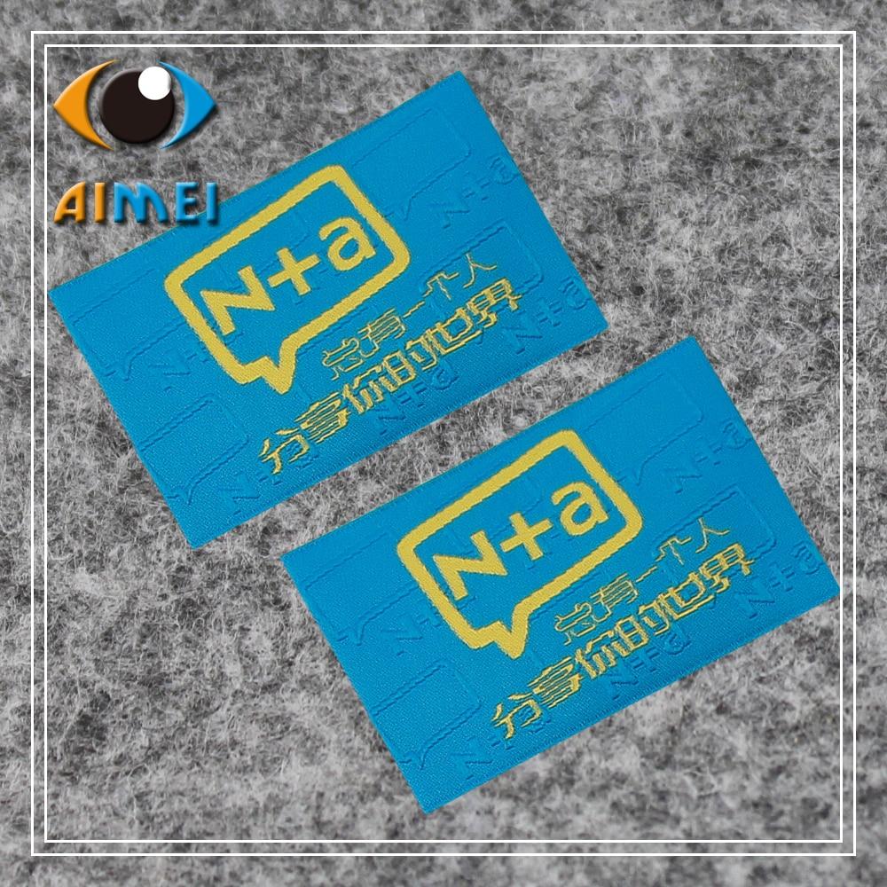 Aangepaste Hoge dichtheid geweven labels met super sonic cut edge voor textiel Kledingstuk tags schoenen accessoires Jurk geborduurd tag-in Kledinglabels van Huis & Tuin op  Groep 3