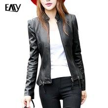 Ladies pu leather jacket women zipper faux leather casual women zipper short jacket bomber plus size leather jackets for women
