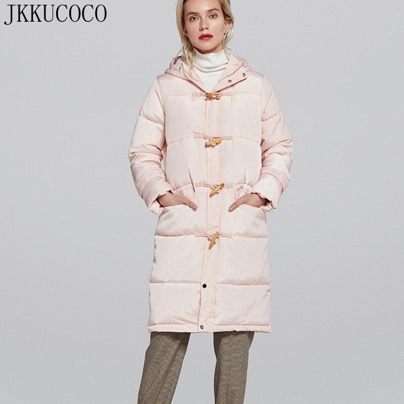 JKKUCOCO 2018 New Women Cotton Jacket horn button Pocket Hooded jackets Women   Parkas   Warm Winter Jacket Solid Long Coats S-XXL
