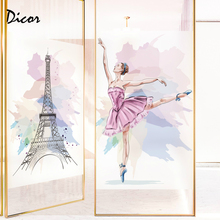 2019 New Glass Film Quotes Tower Dream Ballet  Colorful Watercolor Art Dance Studio Livingroom Frosted PVC Decal Girl 1545ABC