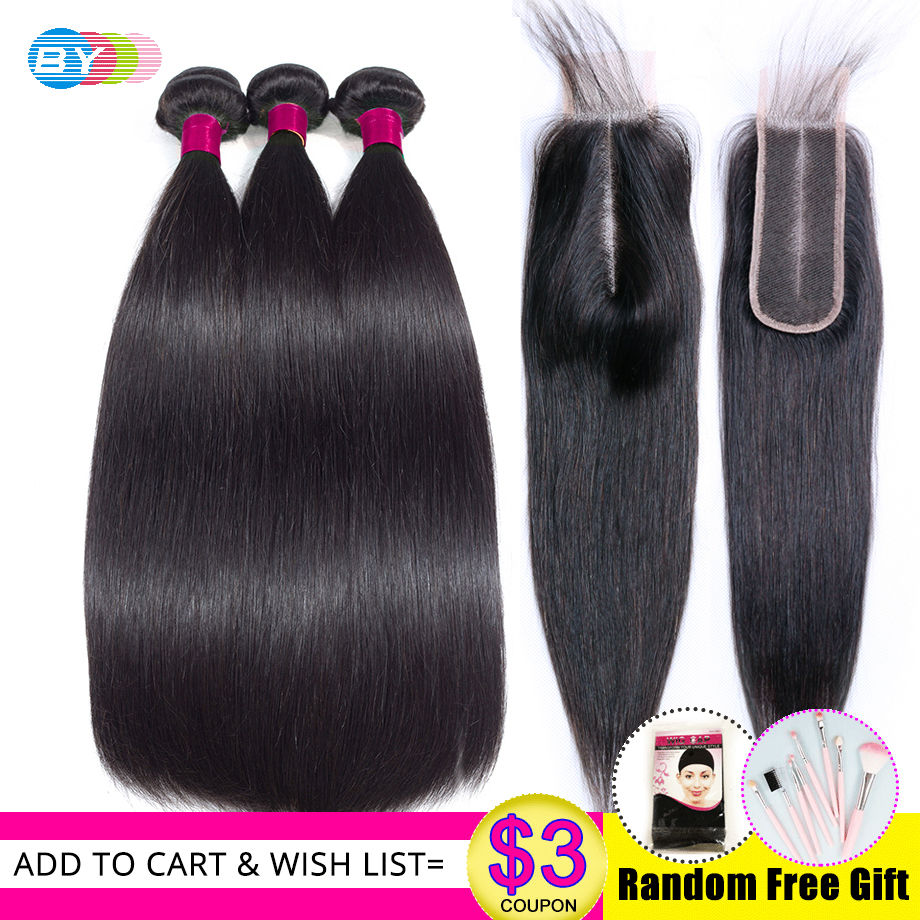 Straight Hair Bundles With 2x6 Lace Closure HD Swiss Lace Pre Plucked Wiht Baby Hair Human