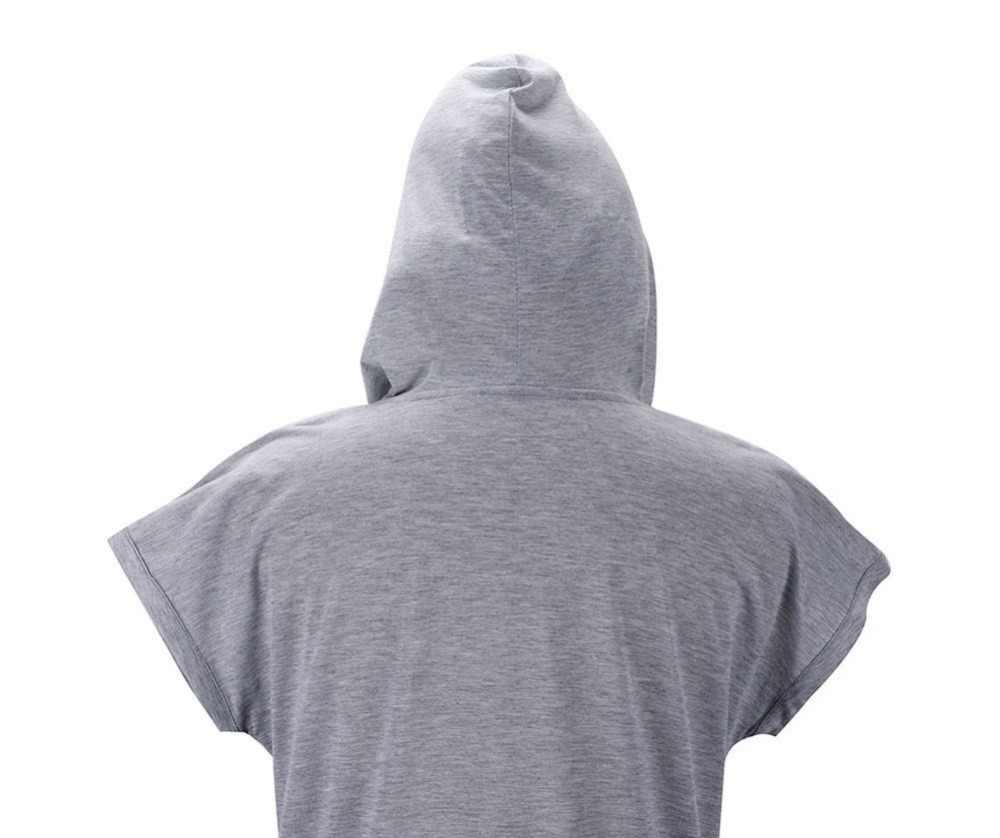 Verano talla grande ropa de mujer color sólido con capucha Camiseta larga mujeres Casual camisetas Tops mujer suelta camiseta A3410