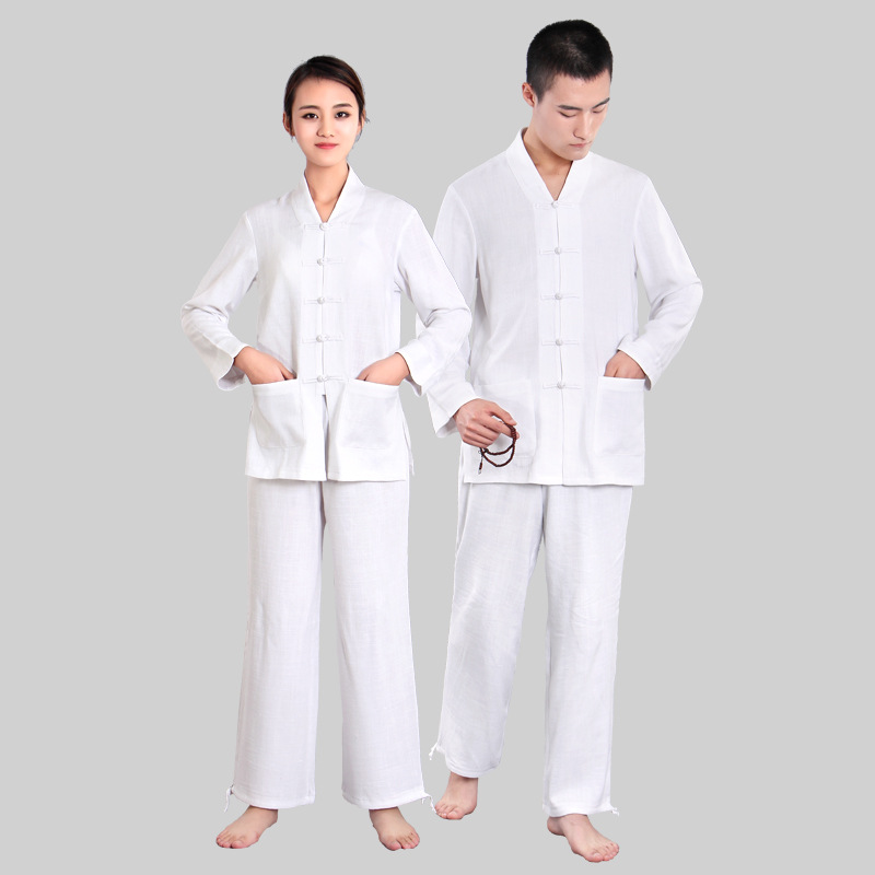 Women Yoga Suit Loose Trousers Tops Set Female Kung Fu Tai Chi Clothing Ladies Linen Outdoor Yoga Clothes Zen Meditation Clothes
