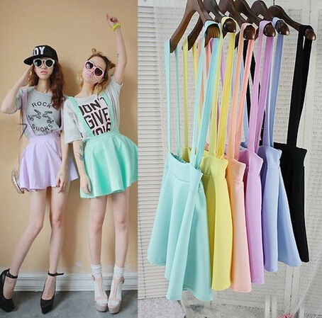 Women's Belt Waist Suspender Skirt Pastel Skater Flared Pleated Casual Mini Skirt Girls
