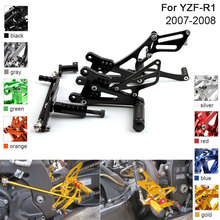 купить CNC Aluminum Adjustable Rearsets Foot Pegs For Yamaha YZF-R1 YZF R1 2007 2008 дешево