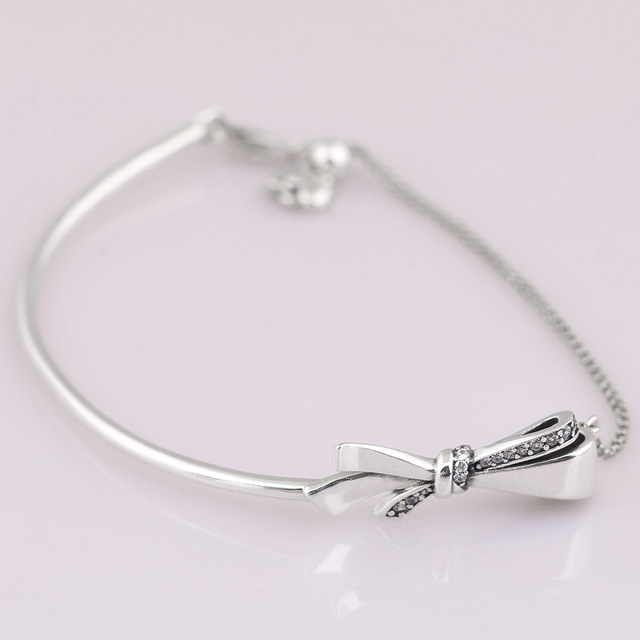 92c6ce038 New Brilliant Bow Ball Clasp Adjust Bracelet Bangle Fit Women Bead Charm  Diy Pandora Jewelry 925