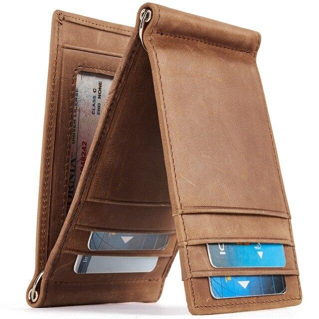 0e4327aea8d1 US $16.22 49% OFF|BOSTANTEN Men's Genuine Leather RFID Blocking Wallet Men  Slim Trifold Wallets Minimalist Card Holder with 2 Money Clips-in Wallets  ...