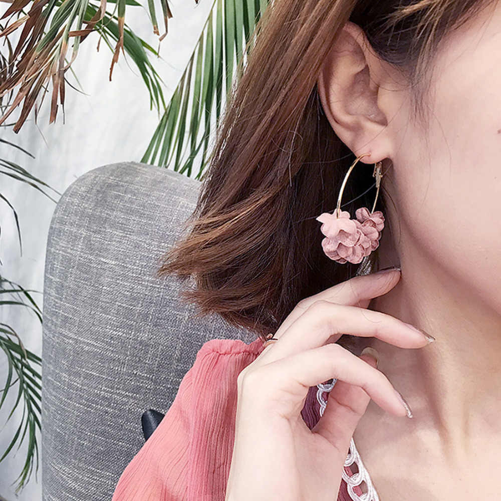 1Pair Women Boho Hoop Earrings Cloth Flower Korean Earrings For Ladies Girls Party Travel Daily 2020 New Design Earrings Jewelry