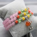 Ethnic style Lucky Gourd Pendant Crystal beads pink Chalcedony Bracelet hand chain for women girls Ladies Natural stones