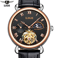 2017 LIGE Fashion Moon phase Mens Watches Self-winding Mechanical Leahter Watch Male Wristwatch Top Brand Luxury Business Watch