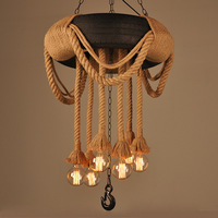 American country loft Nordic Industrial Hemp tire Pendant Lights Edison Bar Living Kitchen Dining Room Lamps