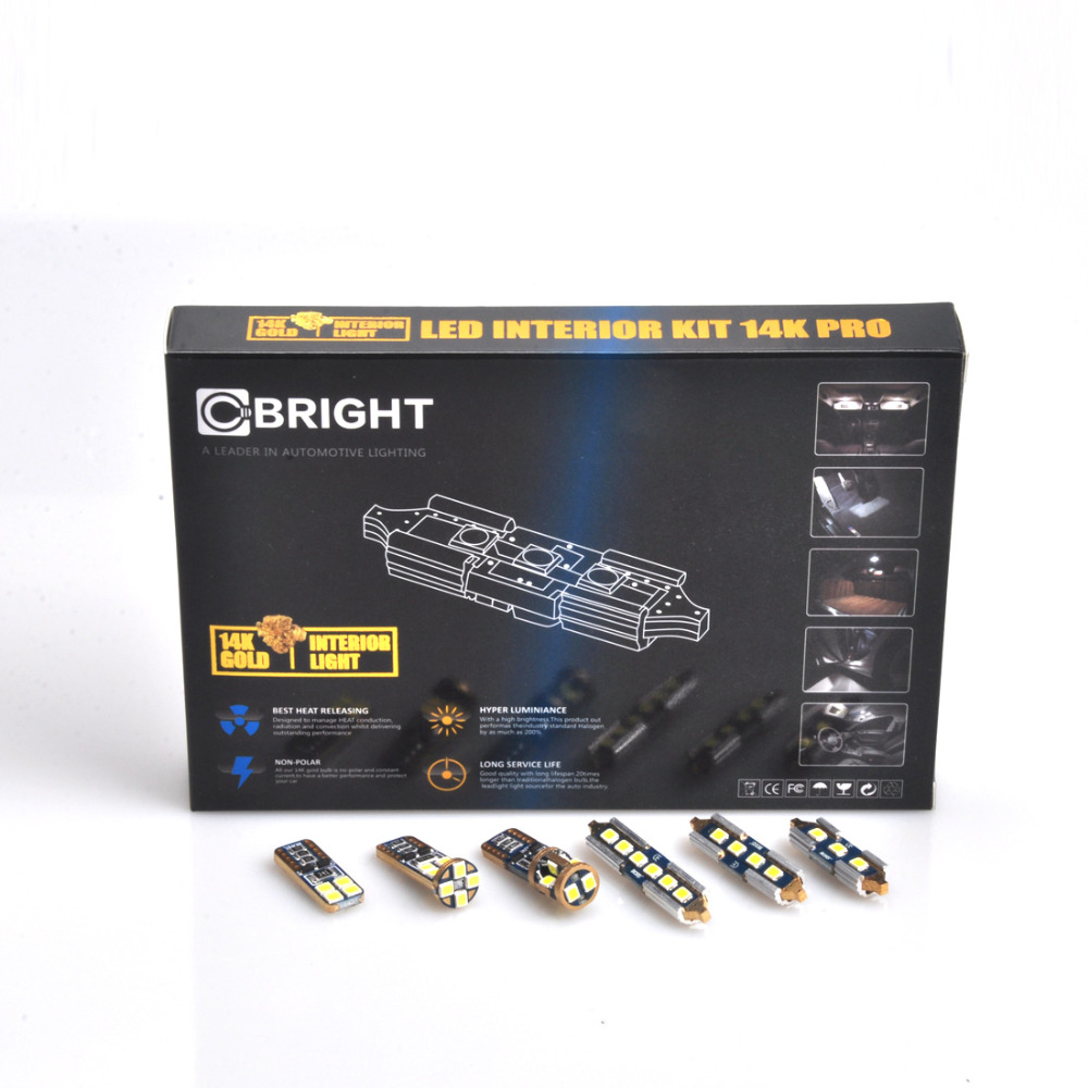 19pcs Error Free Xenon White 14K Gold Led Interior Reading Light Package Kit for Audi A3 S3 RS3 8P1 WITH Samsung 3030 LED