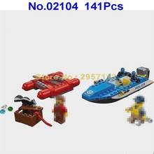 02104 141pcs City Police Mining Heavy Drill Bit Boat Lepin Building Blocks Compatible 60176 Brick Toy(China)
