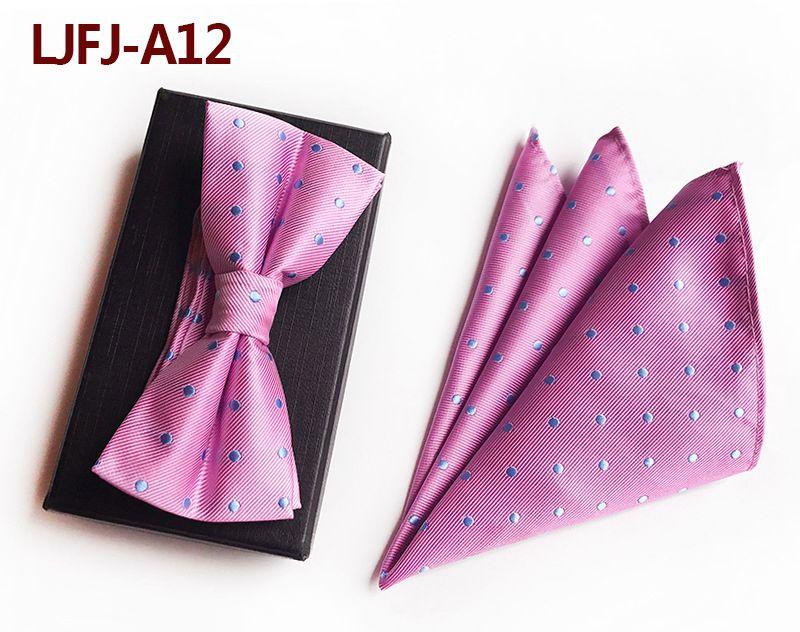 Мужской модный галстук набор полиэфирных шелковых галстуков наборы из двух частей жаккардовые галстуки для мужчин галстук носовой платок галстук-бабочка - Цвет: LJFJ-A12