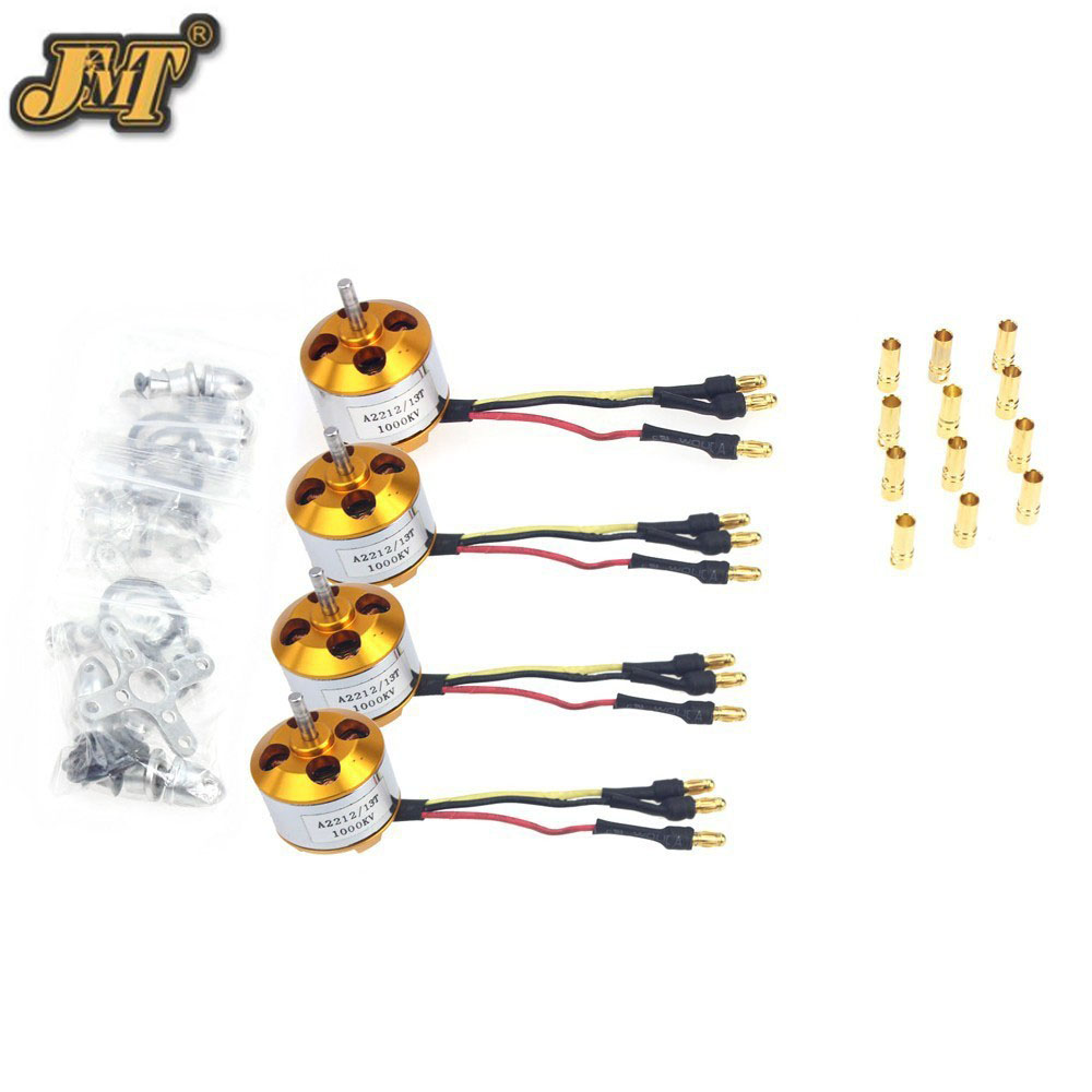 JMT 4 Pcs A2212 1000KV Brushless Outrunner Motor W/ Mount with 12 Pairs 3.5MM Banana Plug ( Male and Female) Soldered 1pcs a2212 2200kv outrunner motor
