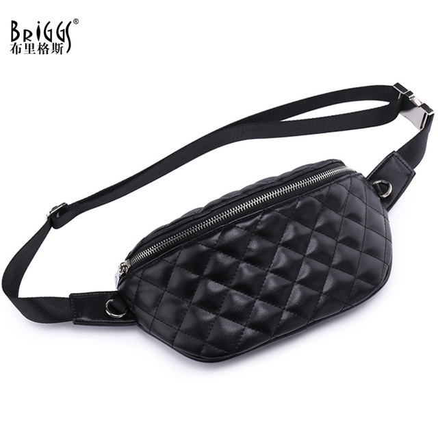 2018 Hight Quality PU Leather Waist Bag Women Fanny Pack Belt Bag Luxury Brand Classic Plaid Leather Chest Bags