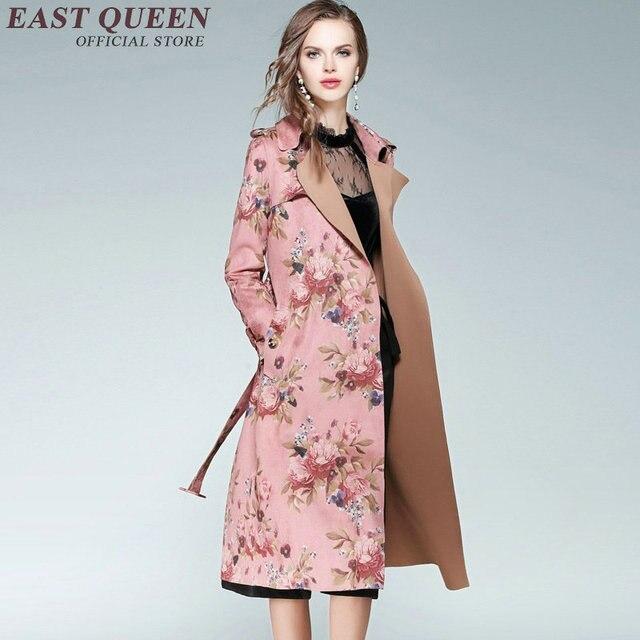 Frauen Trenchcoat Floral Graben Mantel Fur Frauen Herbst Winter Mode