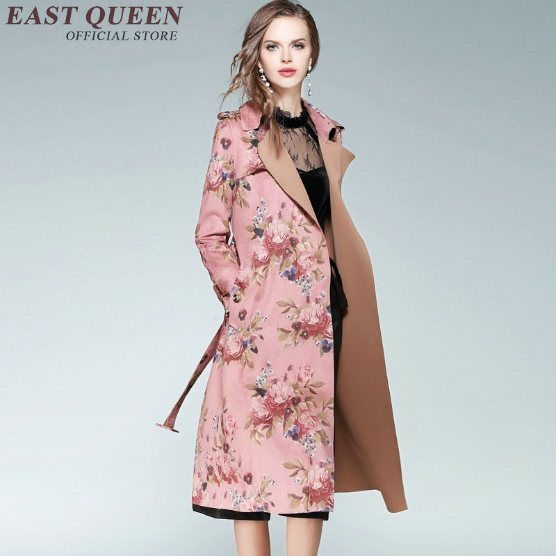 Women trenchcoat floral trench coat for women autumn winter fashion womens business suits AA3025 Y