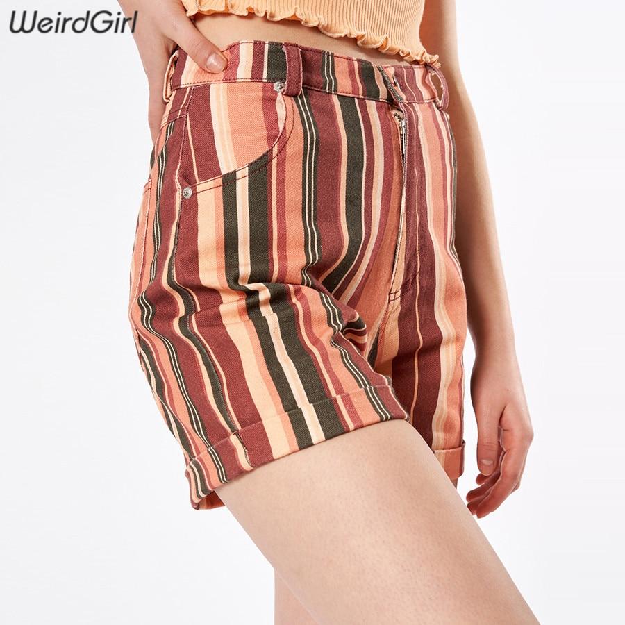 Weirdgirl Women Shorts Casual Fashion High Waist Elastic Skinny Striped Summer Pocket Mini Trousers Slim Lady Straight 2019 New