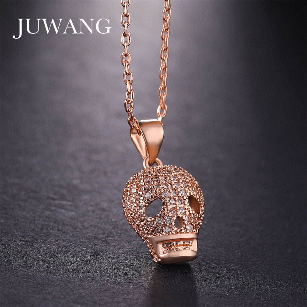 Europe and the United States retro pattern carving pendant skull head necklace tide hip hop copper necklace