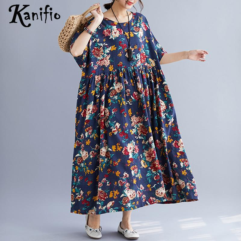 Kanifio Oversized Plus Size Women Fashion Floral Print Long Maxi Dress Lady Bohemian Summer Casual Dresses
