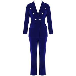 Image 2 - Ocstrade conjuntos de verão para as mulheres 2020 novo azul marinho com decote em v manga longa sexy 2 peça conjunto roupas alta qualidade conjunto duas peças terno