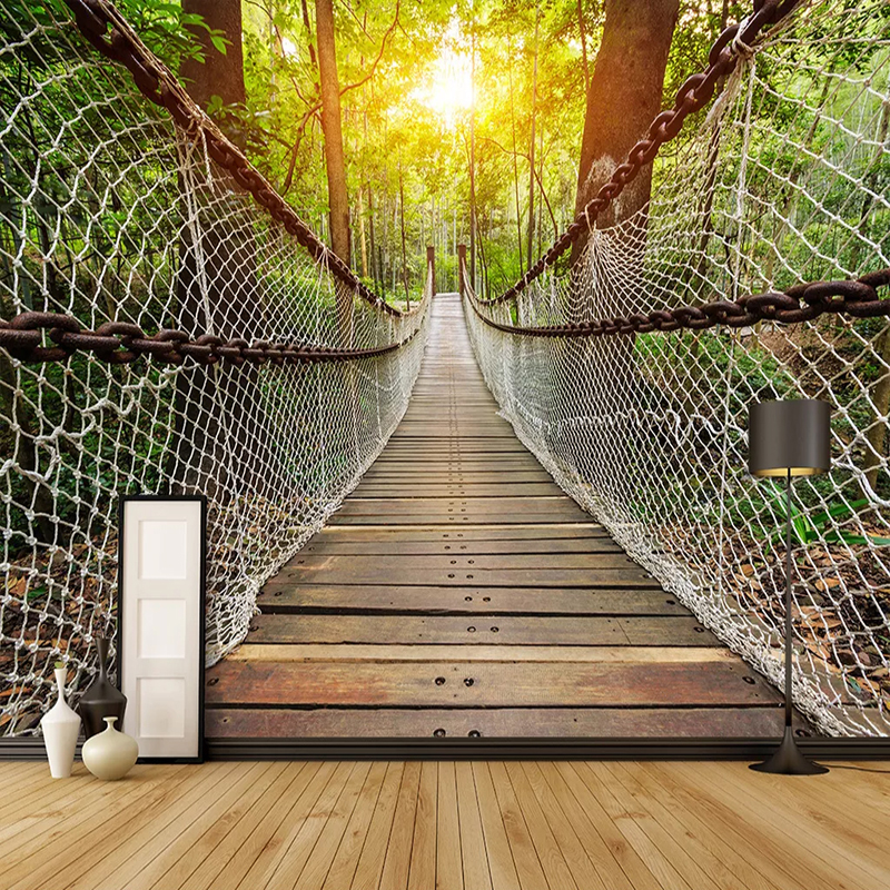Photo Wallpaper 3D Stereo Suspension Bridge Forest Landscape Murals Living Room Dining Room Home Decor Creative 3D Wall Painting