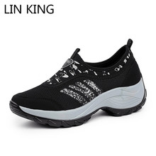 Купить с кэшбэком LIN KING Spring Autumn New Designer Women Wedges Platform Sneakers Ladies Slip On Loafers Tenis Feminino Casual Shoes For Female