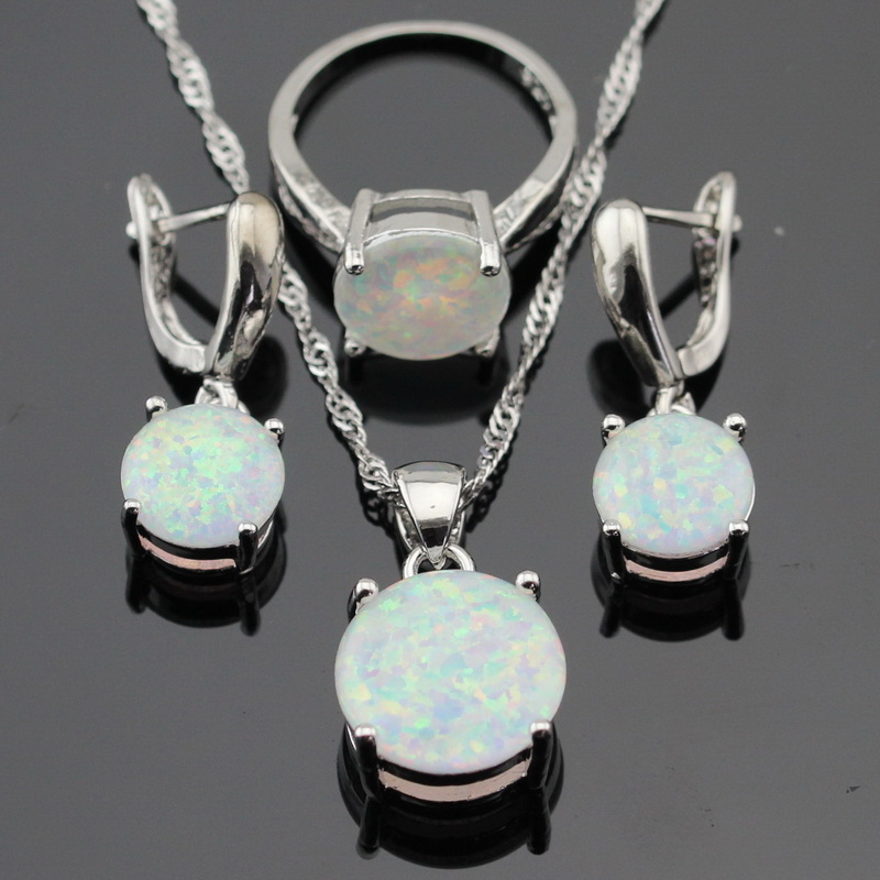 Australia White Fire Opal Stones Silver Color Jewelry Sets For Women Christmas Necklace Pendant Drop Earrings