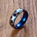 Mprainbow Men Domed Rings 6mm Stainless Steel Football Soccer Sports Style Rings for Men Blue Wedding Band Fashion Jewelry anel