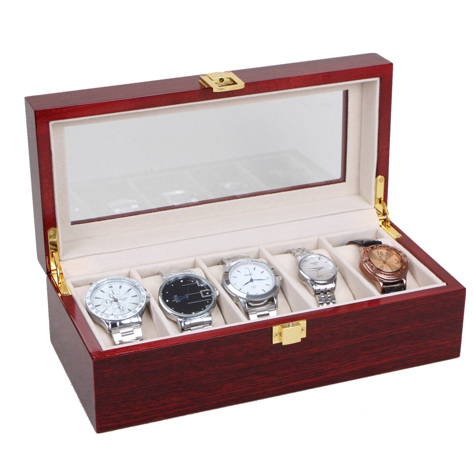 5 Grid Wood Watch Display Box Case Transparent Luxus Watchbox Skylight Red Box luxury Jewelry Collections Storage Display Case набор кухонных принадлежностей loraine 5 предметов 24816