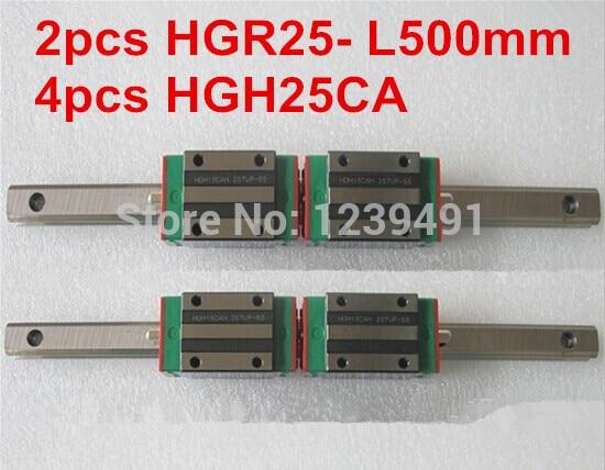 2pcs HIWIN linear guide HGR25 -L500mm with 4pcs linear carriage HGH25CA CNC parts 1pcs hiwin linear guide hgr25 l500mm with 2pcs linear carriage hgh25ca cnc parts