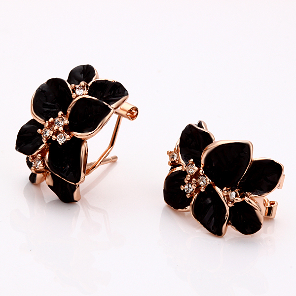 Jewelry Set Rose Gold Color Black Painting 4