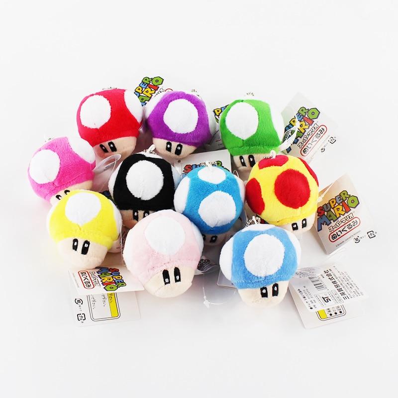 2.56CM Super Mario Bros Mushroom Keychain Plush Toy Soft Stuffed Doll For Childrens Gift