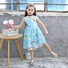 Lace Princess Dress Girl 2019 Summer Fashion Sweet Ball Gown Solid Rainbow Dresses Kids  Girls New Designer Party