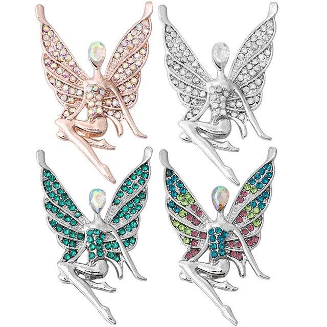 5 sztuk/partia nowy duży anioł dziewczyna Snap biżuteria różowe złoto srebro piękny motyl 18mm przystawki przycisk Fit DIY Snap bransoletka dla kobiet