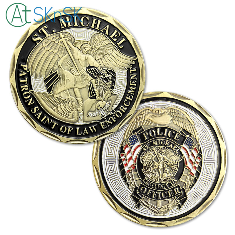 New arrival Police Officer ST Michael Patron Saint of Law Enforcement Challenge Coin Bronze Plated Coin United State Coin
