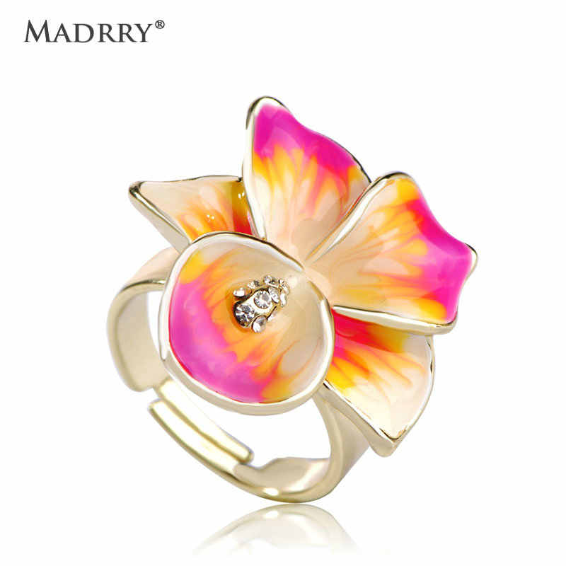 Madrry 2017 Spring Enamel Flower Rings For Women Gold Color Statement Anillos Feminino Party Holiday Adjustable Anel Bijuterias