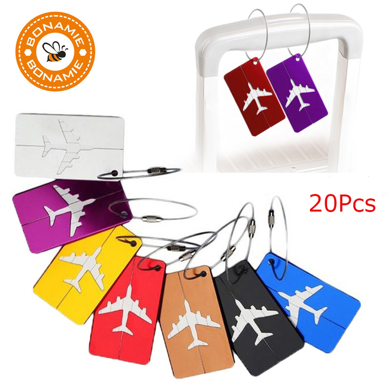 BONAMIE 20Pcs/Lot Metal Luggage Tag Aluminum Alloy Multi Colors Types Air Plane Travel T ...